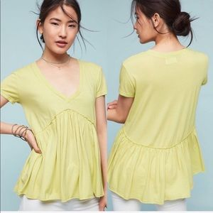 Anthropologie Tops - Anthropologie T.la Babydoll Blouse Chartreuse